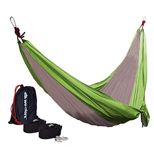 Portable Lightweight Single Parachute Hammock With Straps And Steel Carabiners Included For Travel, Hiking, Backpacking, And Camping Made With Strong Breathable Nylon Compact, Durable And Easy To Use