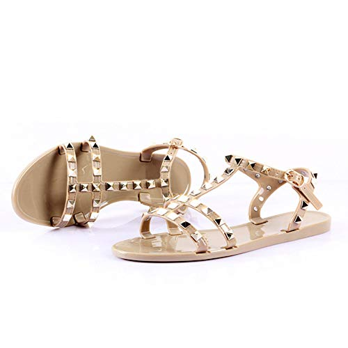 Women Flat Sandals T-Strap Studded Jelly Classic Gladiator Sandal Casual Shoes Nude