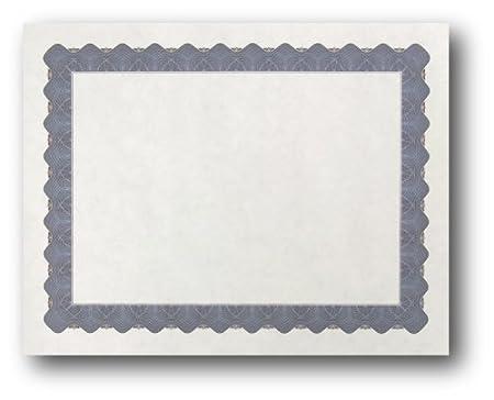 Metallic Border Parchment Certificate Paper Premium Printable Blank Certificates Silver 250 Certificates 8 1//2 x 11