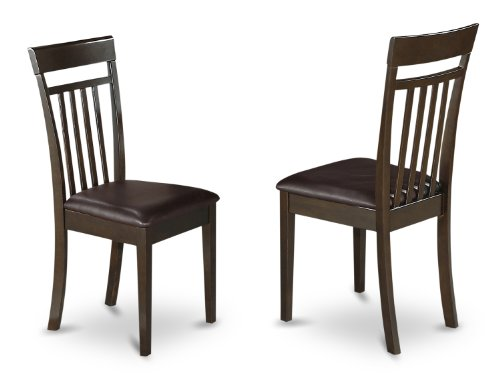 East West Furniture CAC-CAP-LC Slat Back Kitchen Chair Set with Leather Upholstered Seat, Set of - Back Slat Chair Upholstered