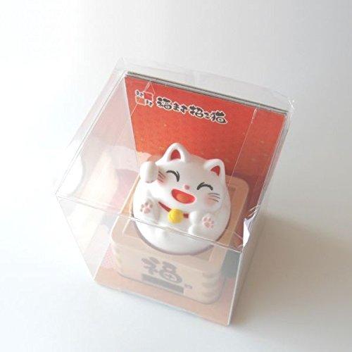 Solar Powered Fu Beckoning Cat (White) by KOKUSAI