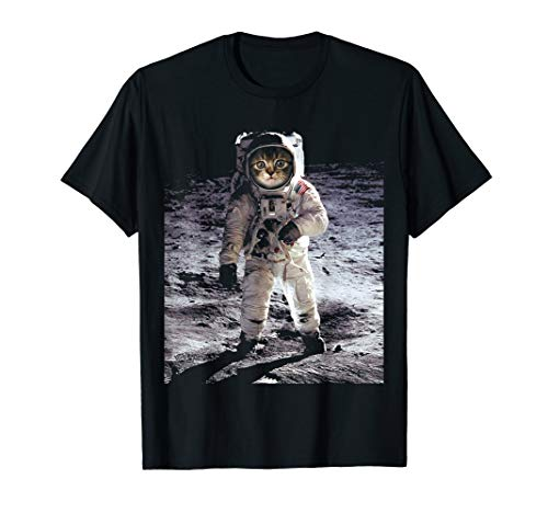 First Space Cat On The Moon Funny T-Shirt