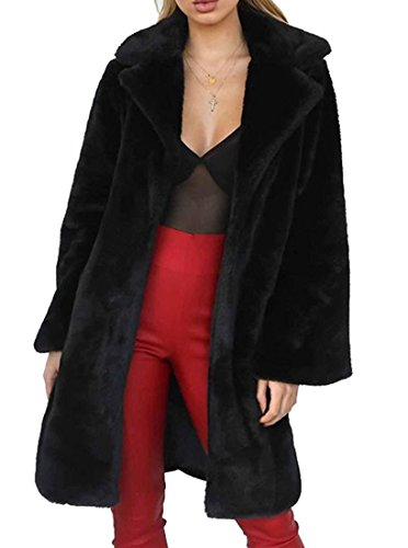 Women's Soft Rabbit Fur Fuax Fur Button up Lapel Outwear Jackets Black by GESELLIE