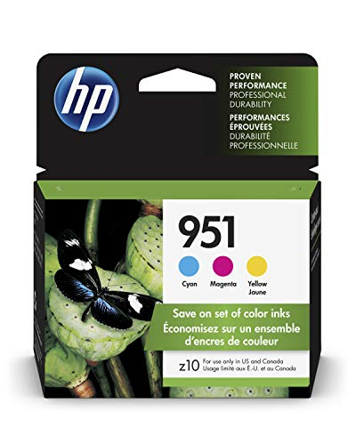 HP 951 Ink Cartridges: Cyan (CN050AN), Magenta (CN051AN) & Yellow (CN051AN), 3 Ink Cartridges (CR314FN) for HP Officejet Pro 8610 8600 8620 8100 251dw 8630 8625 8615 276dw