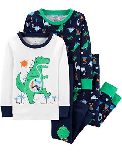 ce Snug Fit Cotton PJ Set, Green Dino, 3T ()