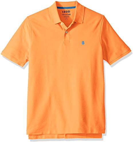 IZOD Men's Advantage Performance Short Sleeve Solid Polo, Legacy Melon, - Polo Pique Plain Mens
