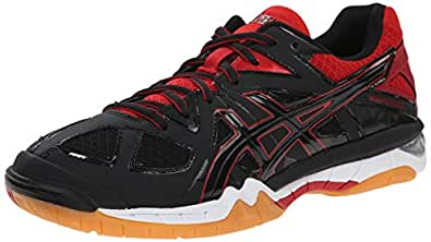 ASICS Women's Gel Tactic Volleyball Shoe, Black/Black/Fiery Red, 5 M US