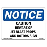 Diuangfoong Osha Notice Sign Caution Beware Of Jet Blast Props And Rotors Aluminum Metal Tin 12'x18' Sign Plate