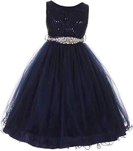 Little Girls Dress Sparkly Sequins Detachable Rhinestone Crystal