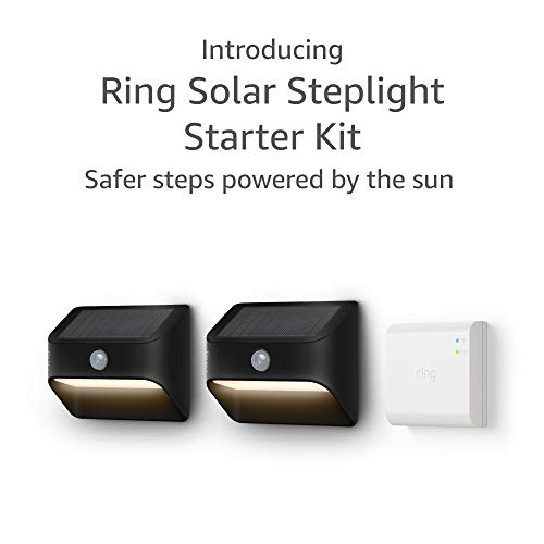 Introducing Ring Solar Steplight, Outdoor Motion-Sensor Security Light, Black Starter Kit 2-pack