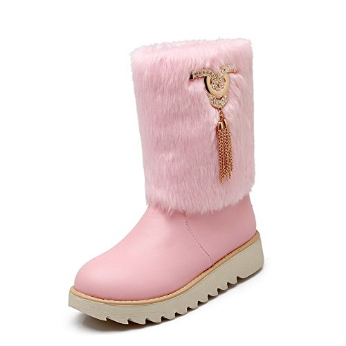 [WeenFashion Women's PU Low-Heels Round-Toe Boots with Glass Diamond and Platform, Pink, 42] (Furry Boots Cheap)