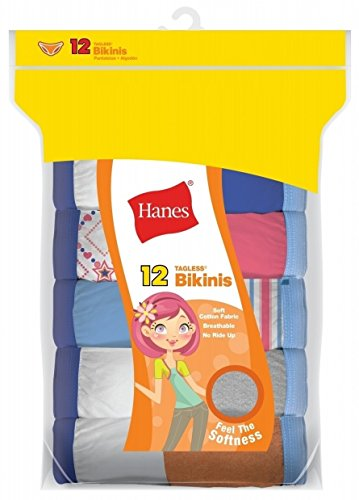 Briefs Girls Bikini (Hanes Girls 12-Pack Tagless Assorted Prints & Solids Bikini Briefs (10))