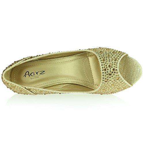 Mujer Señoras Peeptoe Diamante Embellecido Tacón de Cuña Noche Fiesta Boda Prom Nupcial Sandalias Zapatos Talla Oro