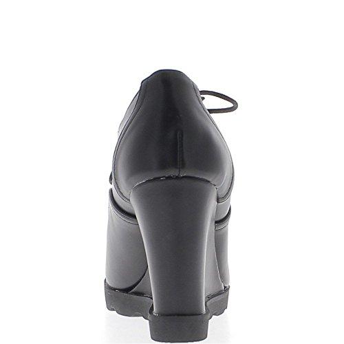 9,5 cm nero lucido tacchi compensati derbys donna