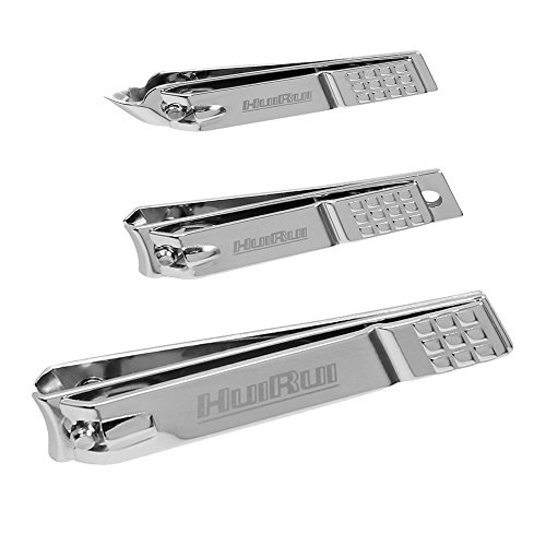 HUIRUI Professional Stainless Steel Nail Clippers for Men and Women, Box Package Include Fingernail and Toenail Clipper Set (Professional Box Nail)