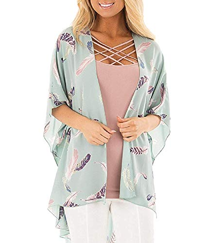 Women's Chiffon Kimono, Floral Print Cardigan, Sheer Loose Cover Up Casual Blouse Half Sleeve Tops (B51-light Green, Large)
