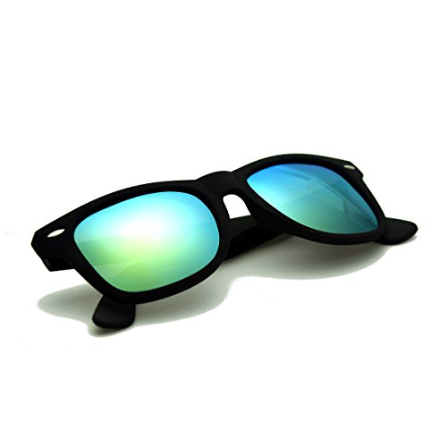 Zacway Polarized Horn Rimmed Sunglasses Color Mirror Lens Matte Finish (Black / Gold, - Shady Ray