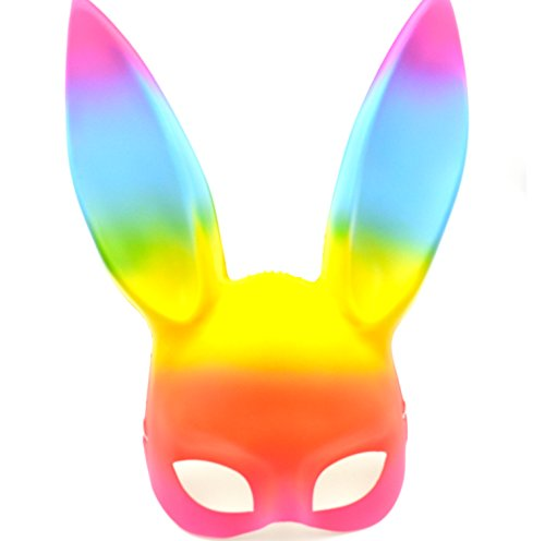 (Rainbow Bunny Mask - Great for a 2018 Halloween Costume Pride)