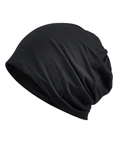 (Luccy K Women's Black Lightweight Turban Slouchy Beanie Hat Cap)
