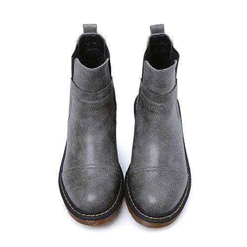 Gousset Chaussures Gris Chelseas Élastique Gros Bottes Talon Femme Mosaïque U Smilun xzwE5v0w
