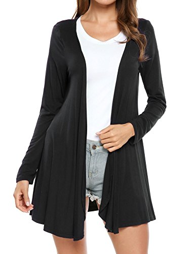 SoTeer Women Irregular Long Sleeve Wrap Kimono Cardigans Coverup(Black M)
