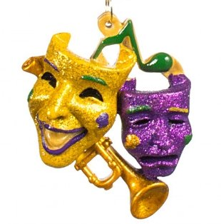 HOLIDAYS R US Comedy Tragedy Masks Trumpet Christmas Mardi Gras Jazz Holiday Ornament New Orleans Cajun Creole Party Free Gold Pouch