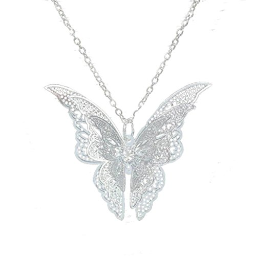 Price comparison product image Women Butterfly Pendant Necklace Jewelry Lovely Statement Jewelry Long Sweater Chain (Silver(Necklace))