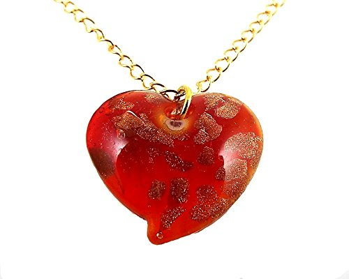 Inexpensive Homemade Costumes Ideas (Red Glass Heart Pendant Necklace on 14K Gold Plated Chain)