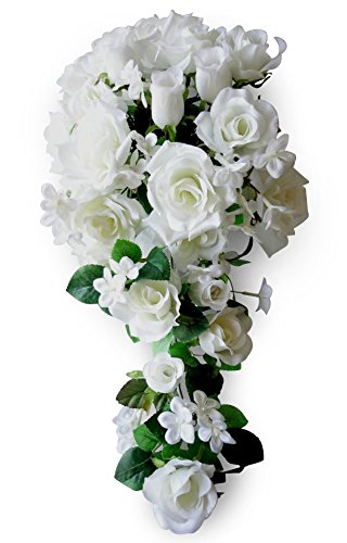 20 Silk Rose Pearl Hyacinth Wedding Bouquet - Cream V-Max Floral Decor VIY5414-CM
