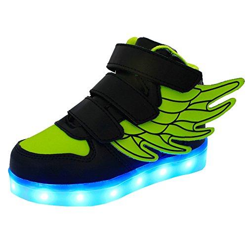 UDreamTime Jungen-Mädchen-LED Leuchten Blinkende Turnschuhe mit Flügeln Grün