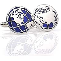 Globe Earth Map Pair Cufflinks in a Presentation Gift Box