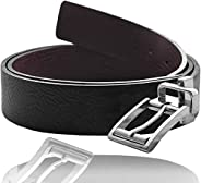 "Men's Faux Leather Reversible Dress Belt 1.5"" Wide with Rotated Buckle"