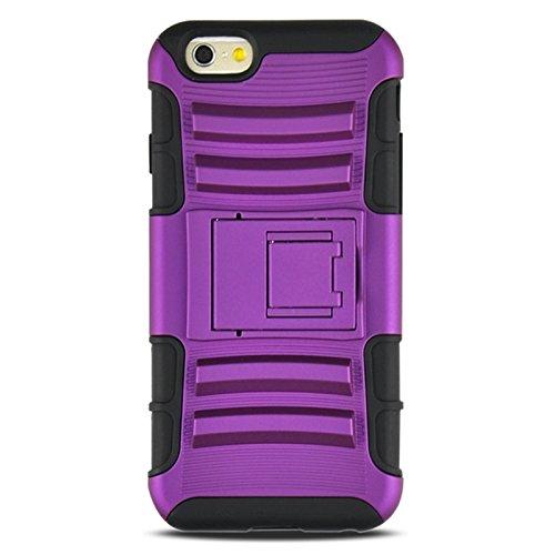 Phone Taschen & Schalen 2 in 1 Split Sliding Silikon + Kunststoff Kombi Case mit Halter für iPhone 6 Plus & 6S Plus ( Color : Purple )