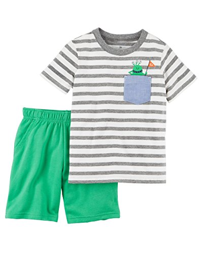 French Short Terry Set - Carter's Boys' Newborn-5T 2 Piece Short Sleeve Sunglass Pocket Polo and French Terry Shorts Set (3 Months, Green/Monster)