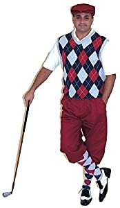 1920s Style Men's Pants & Plus Four Knickers Mens Golf Outfit-Maroon Knickers Cap Navy Maroon Grey Sweater & Socks $125.00 AT vintagedancer.com