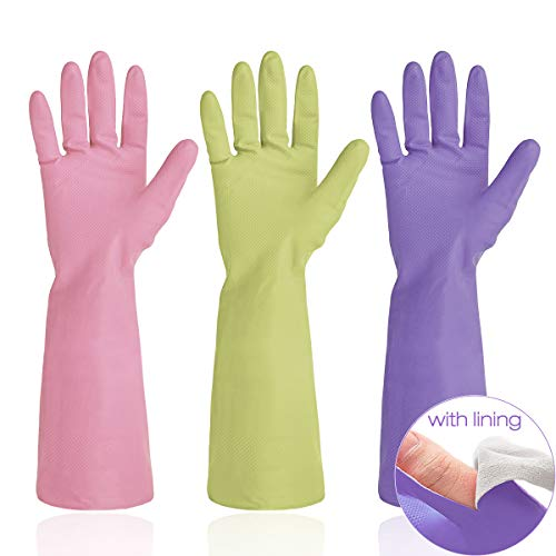 Cleanbear Household Gloves - Latex Free Cleaning Gloves (3 Pack 3 Colors), 15 Inches, Size M