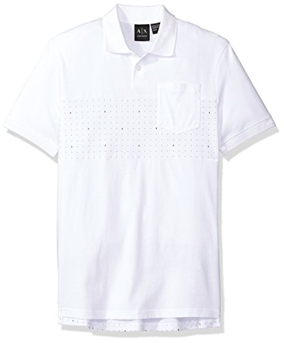 A|X Armani Exchange Men's AX Micro Print SS Polo, White, - Armani Polo Exchange
