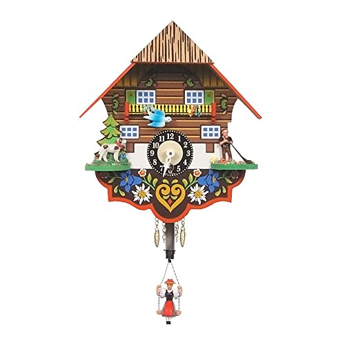 Alexander Taron Importer Key Wound Black Forest Chalet Clock with Bouncing Girl Pendulum