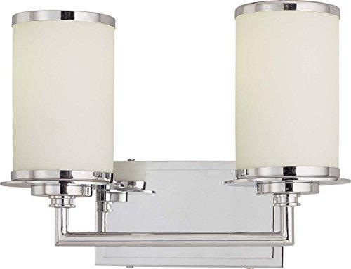 Minka Lavery Wall Light Fixtures 3722-77-PL Vanities Glass Bath Vanity Lighting, 2 Light, 26 Watts Fluorescent, Chrome ()