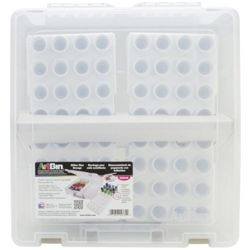 ArtBin Satchel Bottle Storage Container with 2 BottleTrays- Clear/White, 6959AB