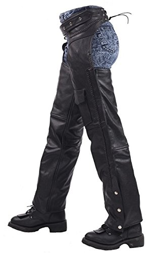 (Insulated Braided Leather Motorcycle Chaps Small)