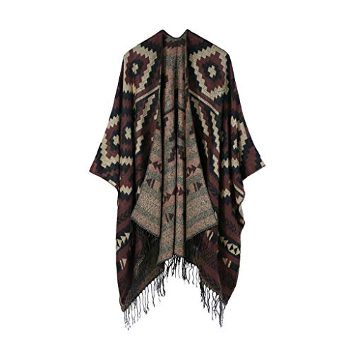 - HYIRI Elegant Smooth And Soft Winter Oversized Color Block Shawl Wrap Open Front Poncho Cape