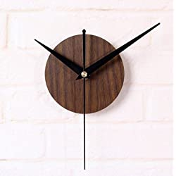 Reliable_E Wood Like Clock Face Power Movement DIY Wall Clock Kit for Home Decor (Brown)