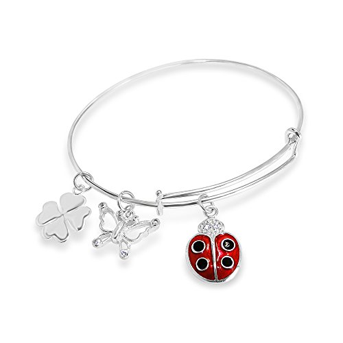 STERLING SILVER BANGLE MEMORY WIRE-CHARMS OF LADYBUG, BUTTERFLY, CLOVER ()