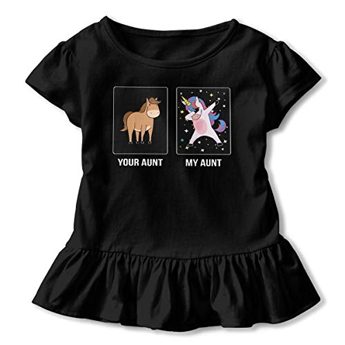 (Sheridan Reynolds Unicorn Horse Your Aunt My Aunt Toddler Girls' T Shirt Cotton Basic Outfit Tee Black)