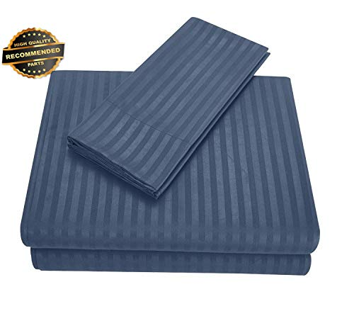 Gatton Premium New Count Striped Fitted Sheet Bed Flat Sheet Set Soft Gray Blue | Collection SHEESRONG-200114571 (Matress Ticking)