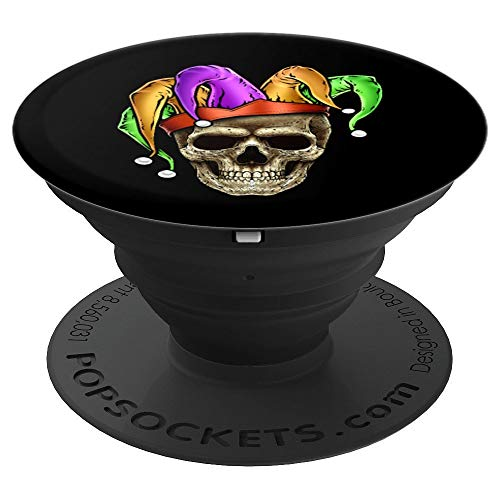 Skull Face Mardi Gras Jester Gift Joker Louisiana Cajun - PopSockets Grip and Stand for Phones and Tablets]()