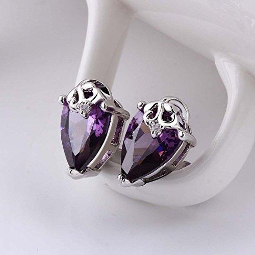 ARTLU® Platinum boucles d'oreilles fantaisie boucles d'oreilles en forme de larme avec pourpre zircon luxe