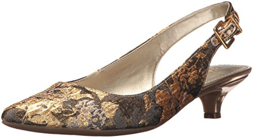 Anne Klein Women's Expert Fabric,Dark Grey-Gold Multi Fabric,8.5 M - Multi Heels Gold