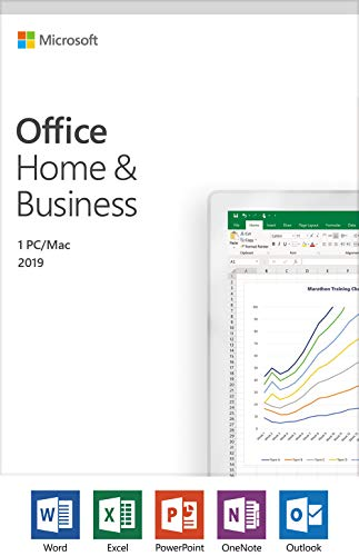 Software : Microsoft Office Home and Business 2019 | 1 device, Windows 10 PC/Mac Activation Card by Mail